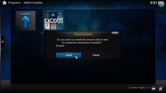 installing Exodus with fusion addon installer