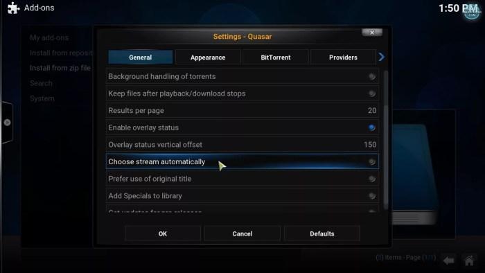 quasar settings, general tab