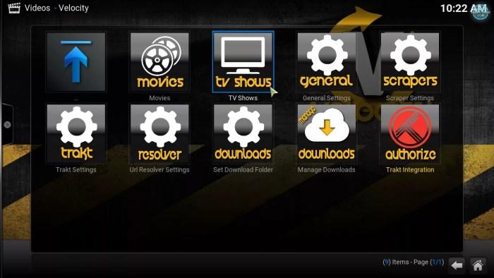 Velocity main menu, tv shows