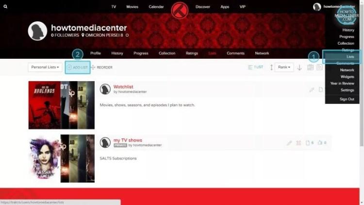 Trakt lists on user profile