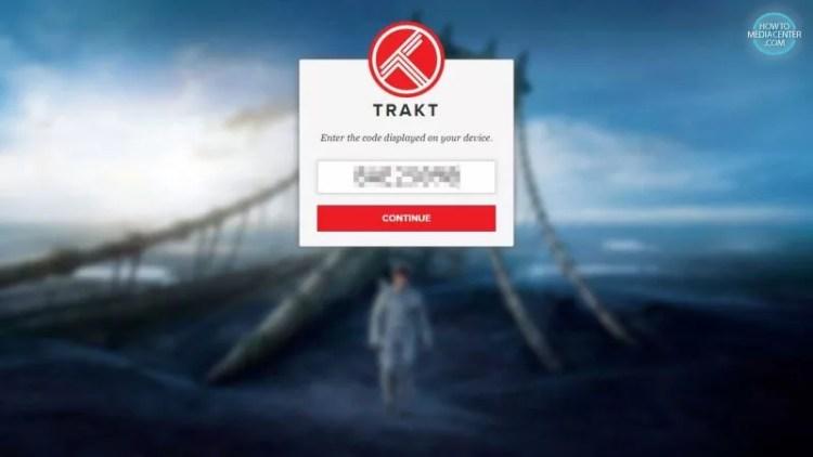 enter exodus authorization code on trakt website