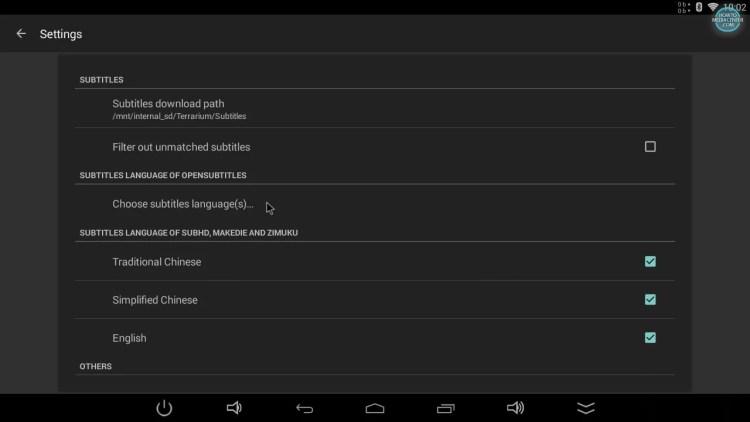 Choose subtitles language on TerrariumTV settings