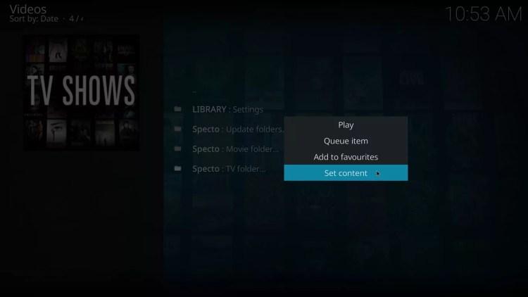 set content for specto tv folder on kodi krypton with estuary skin