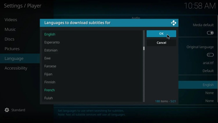 setting language for subtitles on kodi 17 krypton with estuary