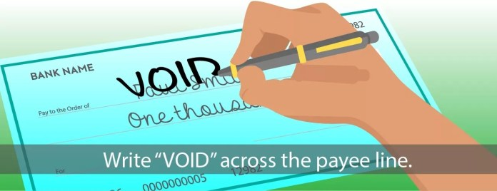 How to write a void check -Write the word VOID