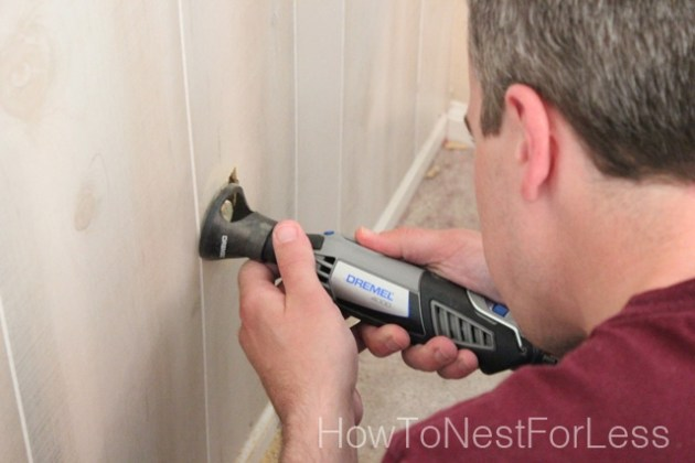 How to Install Wood Paneling  from our Master Bedroom Makeover     Now if you have the panels nailed to the wall but the edges aren t flat  against the wall  you can use a little tip I learned from Perfectly  Imperfect s blog