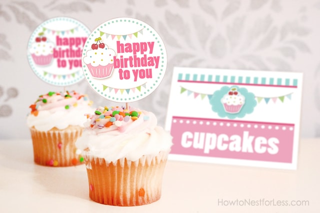 cupcake birthday party with free