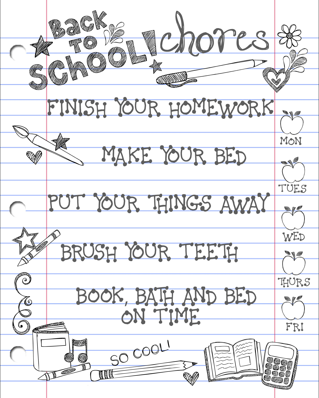 Back To School Chore Chart