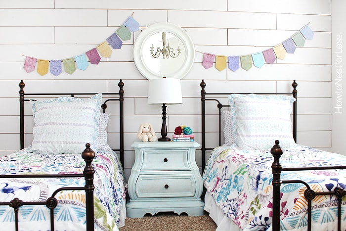white plank wall girls bedroom