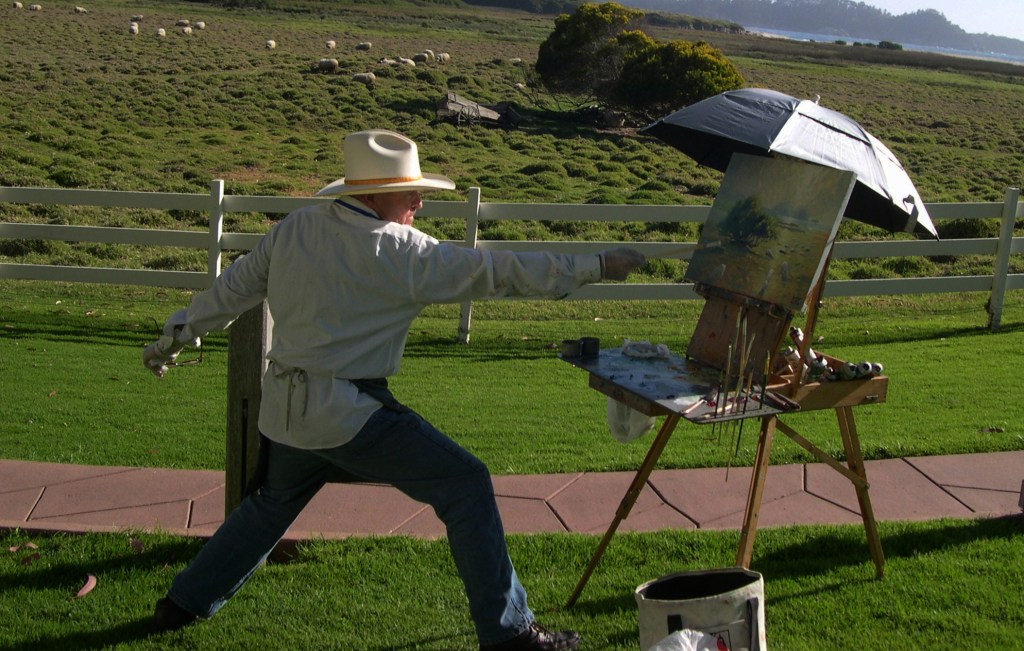 Robert Lewis painting at the Mission Ranc
