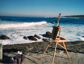 Painting near Spanish Bay, Pebble Beach, California.