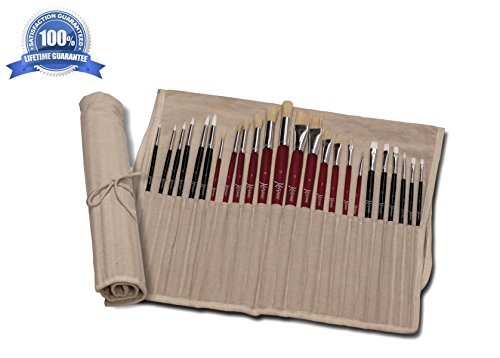 Paint Brush Set and Holder (24pc) Oil and Acrylic Painting Brushes for Kids, Artists – Free Ebook