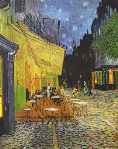 """A plein air nocturne called """"Cafe Terrace at Night"""" by Vincent Van Gogh"""