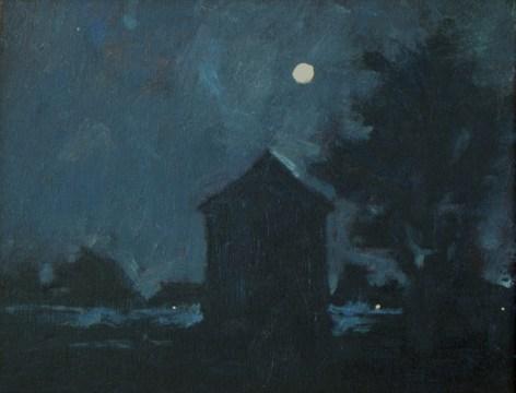 "A plein air nocturne called ""Full Moon over Waterhole Cove"""