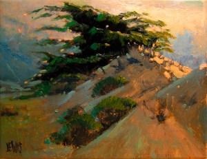 """A plein air sketch in oil called """"Asilomar Dune""""."""