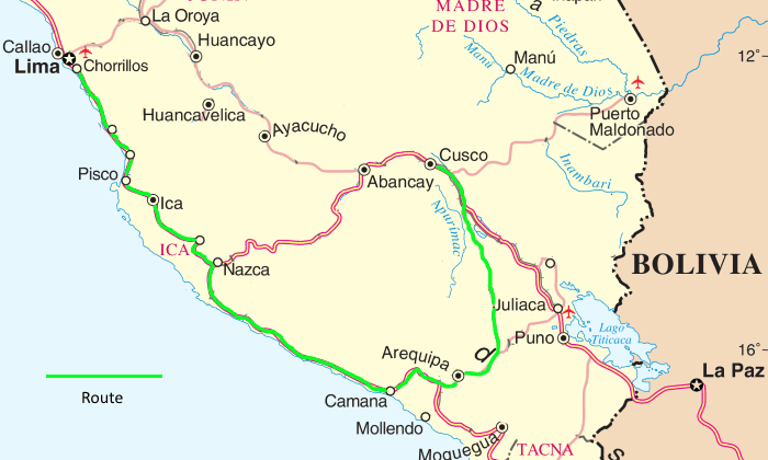 Lima to Cusco by bus via Arequipa