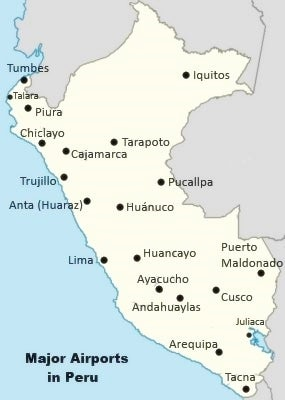 Airports In Peru Map.List Of Major Airports In Peru With Map How To Peru