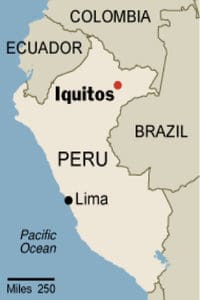Lima to Iquitos by Boat - Map of Peru