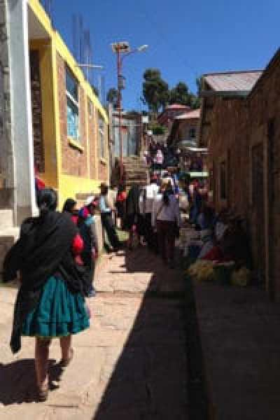 street with locals in town