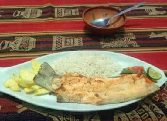 quinoa soup starter, followed by rainbow trout with chips and rice as main