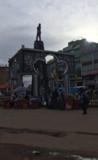 Peru Bolivia border - statue found in Desaguadero