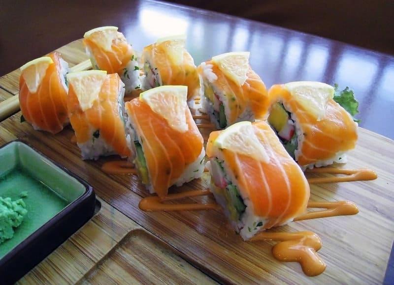 Salmon sushi roll Japanese cuisine in Mancora surf resort peru