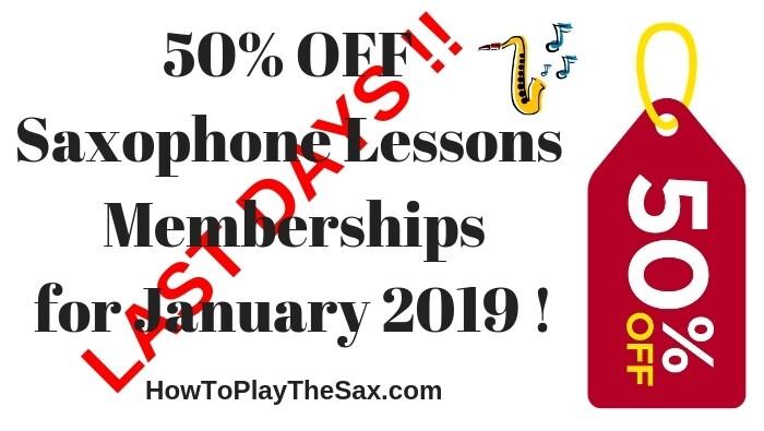 Last Days – Saxophone Lessons Memberships 50% Off Sale ending soon