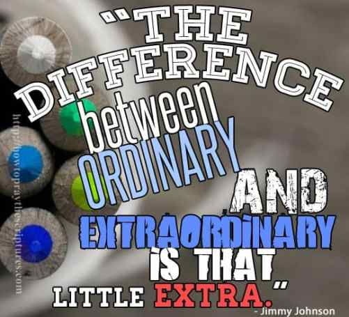 The only difference betwee n ordinary and extra ordinary is the little extra