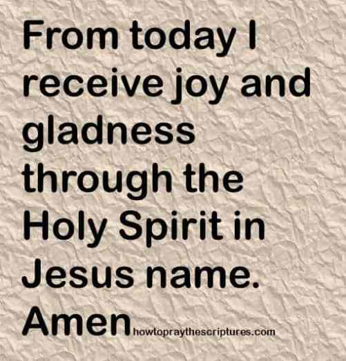 receive joy and gladness in jesus name