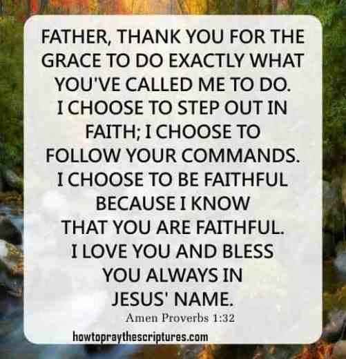 Prayer To Step Out in Faith: Proverbs 1-32
