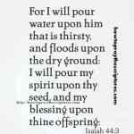 For I Will Pour Water Upon Him That Is Thirsty Isaiah 44-3