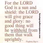 For The LORD God Is A Sun And Shield Psalms 84-11