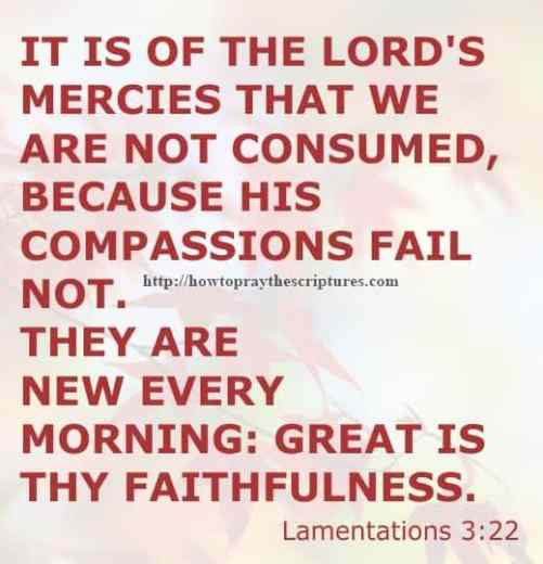 It Is Of The LORD'S Mercies Lamentations 3-22