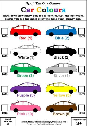 What Colour Is That Car Score Sheet