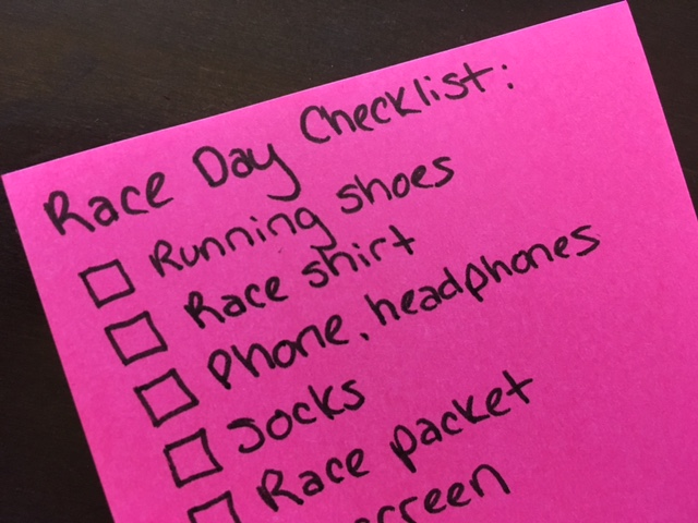 10 Mile Training Plan for Beginners - Race Day Checklist