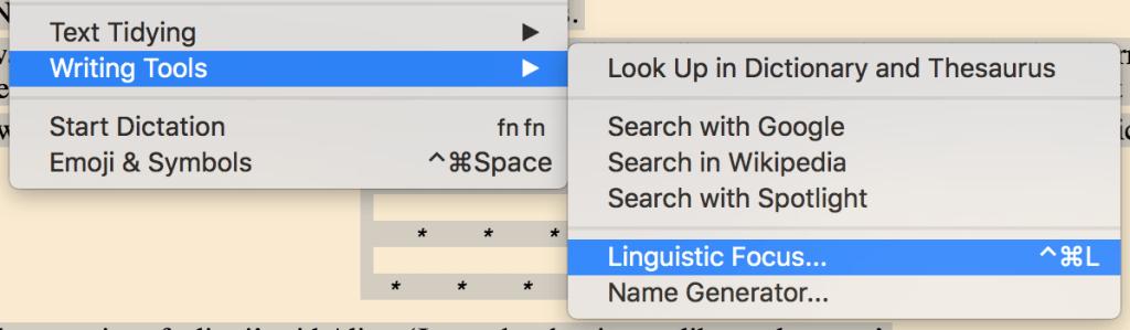Scrivener's Linguistic Focus
