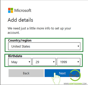 Choose country and date of birth for Hotmail Sign up