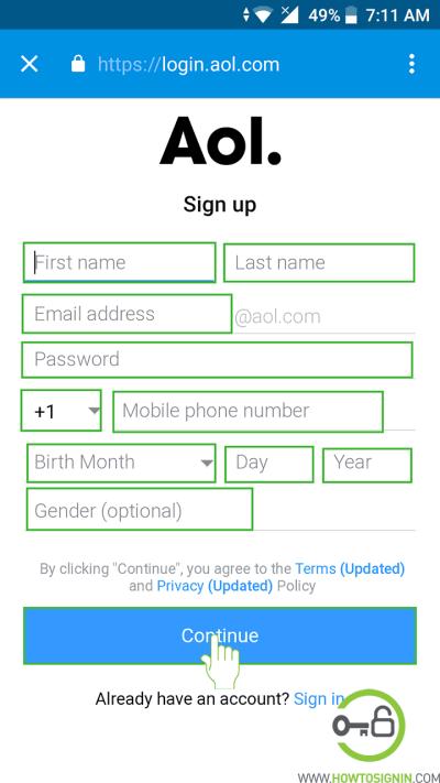Aol sign up form in mobile app