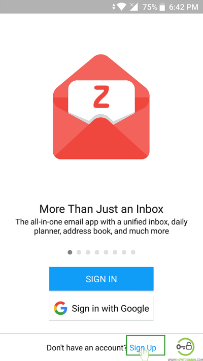 Zohomail Sign Up mobile app