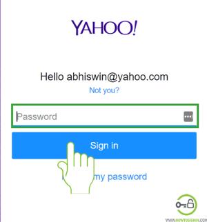 Insert Yahoo mail password