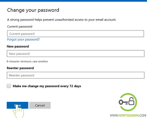 Enter your new Hotmail password