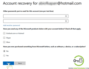 microsoft password recovery form