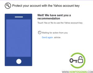 Yahoo security key notification