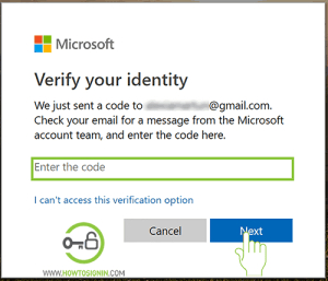 enter verfication code hotmail