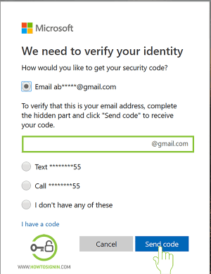 Verify alternative email to reset hotmail password