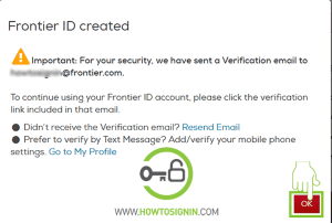 Frontier email sign up verification