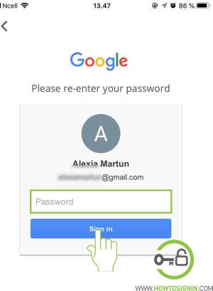 enter current gmail password
