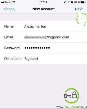 bigpond email login in iphone