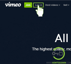 Vimeo sign in page