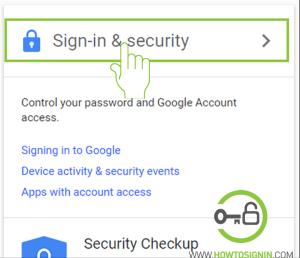 Google sign in security change password
